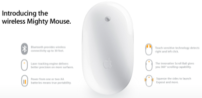 Apple Mighty Mouse (bluetooth & laser-guided) US$69 | 無聊日誌
